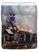 Church At Christmas Duvet Cover