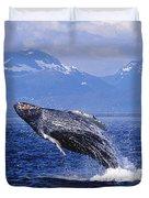 Humpback Whale Breaching Duvet Cover