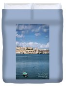 La Valletta Old Town Fortifications Architecture Scenic View In  Duvet Cover