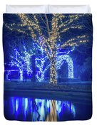 Lights, Christmas, Light, Christmas Tree, Green, Color, Red, Blu Duvet Cover