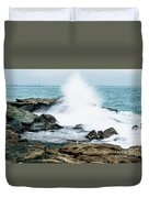 Rocks And Waves At Point Cartwright  Duvet Cover