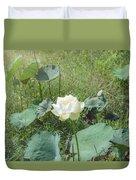 White Lotus Flower Flower Lotus Nature Summer Green Plant Blossom Asian Duvet Cover