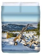 Amazing Winter Landscape With Frozen Snow-covered Trees On Mountains In Sunny Morning  Duvet Cover