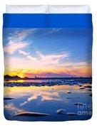 Beach Skyset Sunset On A Perranporth Beach Cornwall Duvet Cover