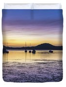 Dawn Waterscape Over The Bay With Boats Duvet Cover