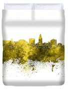 Lincoln Skyline In Watercolor Background Duvet Cover
