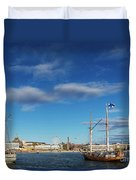 Old Sailing Boats In Helsinki City Harbor Port Finland Duvet Cover
