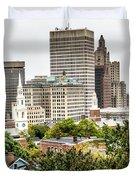 Providence Rhode Island City Skyline In October 2017 Duvet Cover