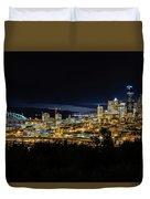 Seattle Skyline At Night Duvet Cover