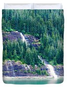 Waterfall In Tracy Arm Fjord, Alaska Duvet Cover