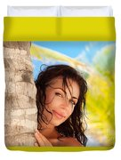Beautiful Woman On The Beach Duvet Cover