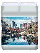 Charlotte City North Carolina Cityscape During Autumn Season Duvet Cover