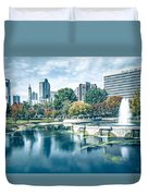Charlotte North Carolina Cityscape During Autumn Season Duvet Cover