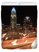 Charlotte North Carolina Skyline View At Night From Roof Top Res Duvet Cover