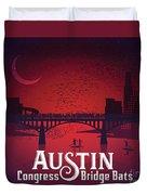 Austin's Congress Bridge Bats Illustration Art Prints Duvet Cover