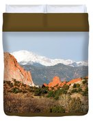 Garden Of The Gods And Pikes Peak Duvet Cover