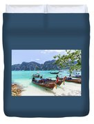 Long-tail Boats, The Andaman Sea And Hills In Ko Phi Phi Don, Th Duvet Cover