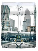 Streetcar Waiting For Passengers In Snowstrom In Uptown Charlott Duvet Cover