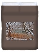 The Bass River In Winter Duvet Cover