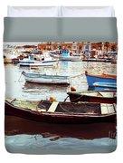 Traditional Boats At Marsaxlokk Harbor In Malta Duvet Cover