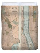 Vintage Map Of New York City  Duvet Cover