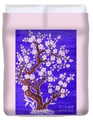 White Tree In Blossom, Painting Duvet Cover