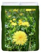 Yellow Dandelion Flowers Duvet Cover