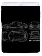 911 Turbo 991 Blueprint Duvet Cover