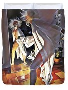9926s-dm Watercolor Woman In White Confronts Herself In Mirror Duvet Cover
