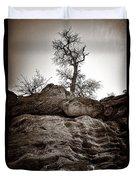 A Barren Perch - Sepia Duvet Cover