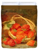 A Basket Of Strawberries On A Stone Ledge Duvet Cover