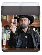 A Bearded Cowboy In Black Contemplates His Whiskey In A Saloon Duvet Cover