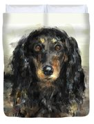 A Beautiful Artistic Painting Of A Dachshund  Duvet Cover