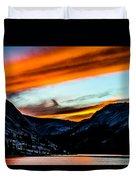 A Beautiful Jet Stream At Sunrise Duvet Cover