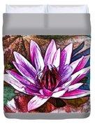 A Beautiful Purple Water Lilies Flower Duvet Cover