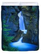 A Beautiful Waterfall, Johnston Canyon Duvet Cover