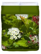 A Bee And A Fly Meet On A Flower Duvet Cover