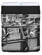 A Bicycle Parked At Fence, Netherlands Duvet Cover