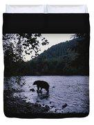 A Black Bear Searches For Sockeye Duvet Cover