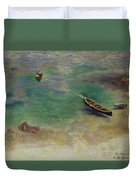 A Boat In The Waters Off Capri Duvet Cover