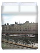 A Boat On The River Seine Duvet Cover