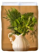 A Bouquet Of Fresh Herbs In A Tiny Jug Duvet Cover