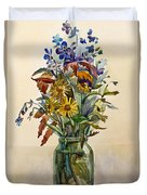 A Bouquet Of Wild Flowers In A Glass Jar. Duvet Cover
