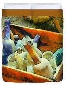 A Box Of Antique Bottles Duvet Cover