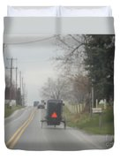 A Buggy Travels Down A Road In Spring Duvet Cover