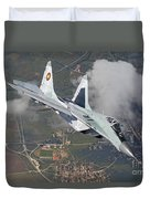A Bulgarian Air Force Mig-29 In Flight Duvet Cover