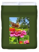 A Butterfly On The Pink Zinnia Duvet Cover