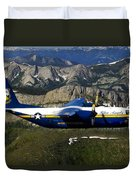 A C-130 Hercules Fat Albert Plane Flies Duvet Cover
