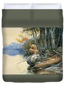 A Camp Site By The Lake Duvet Cover