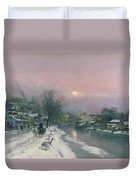 A Canal Scene In Winter  Duvet Cover by Anders Anderson Lundby